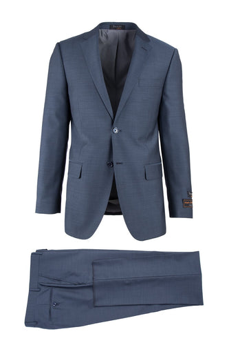 Novello Blue Herringbone , Modern Fit, Pure Wool Suit by Tiglio Luxe