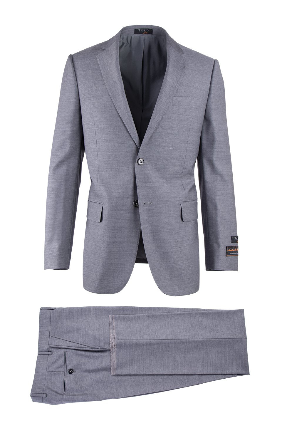 Novello Light Gray, Modern Fit, Pure Wool Suit by Tiglio Luxe