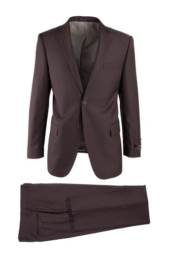 Novello Brown, Modern Fit, Pure Wool Suit by Tiglio Luxe