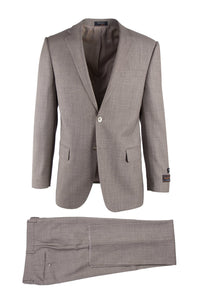 Novello Tan Birdseye, Modern Fit, Pure Wool Suit by Tiglio Luxe