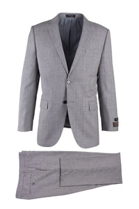 Novello Light Gray Birdseye, Modern Fit, Pure Wool Suit by Tiglio Luxe