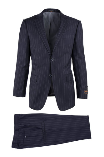 Novello Blue Pinstripe, Modern Fit, Pure Wool Suit by Tiglio Luxe