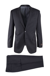Novello Black Tone on Tone, Modern Fit, Pure Wool Suit by Tiglio Luxe