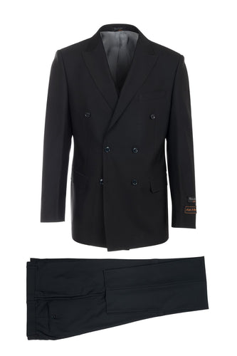 Merlot Black, Modern Fit, Pure Wool Suit & Vest by Tiglio Luxe