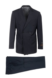 Merlot Navy, Modern Fit, Pure Wool Suit & Vest by Tiglio Luxe
