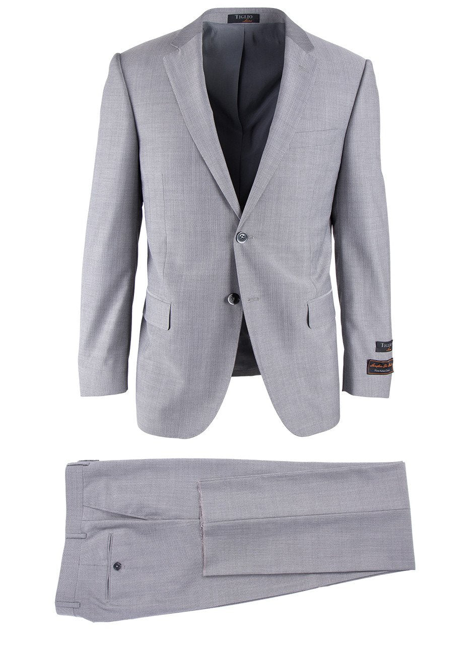Novello Light Gray Herringbone, Modern Fit, Pure Wool Suit by Tiglio Luxe
