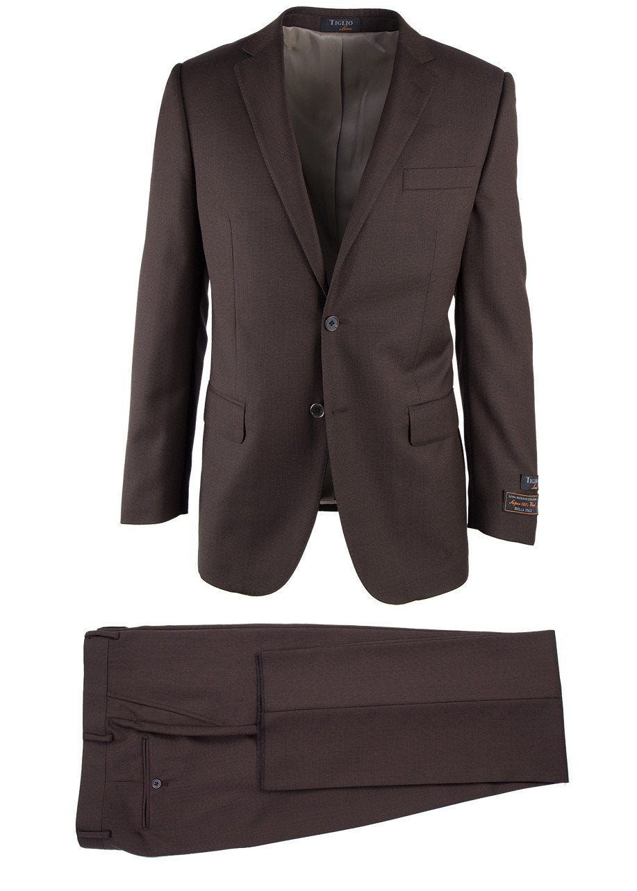 Novello Brown Birdseye, Modern Fit, Pure Wool Suit by Tiglio Luxe