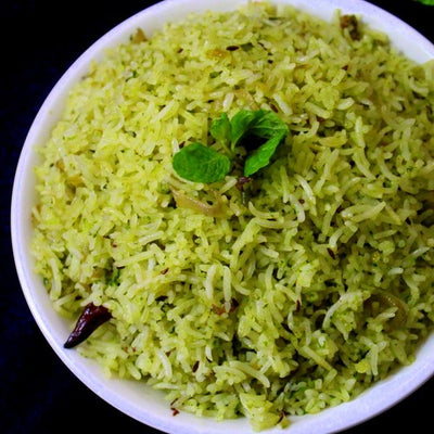 Flavored Mint Rice (Mint Pulao)