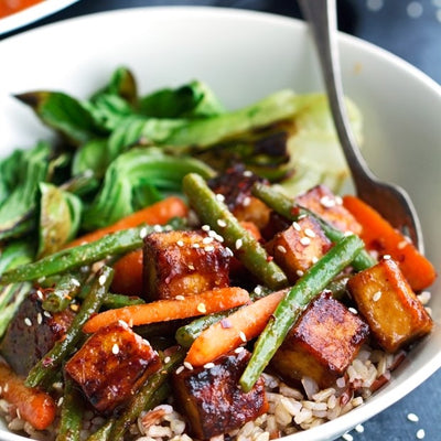 Sesame Stir Fry Beans with Tofu