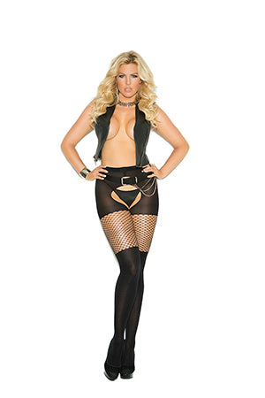 Opaque Crotchless Pantyhose With Diamond Net Top