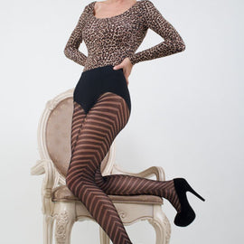 Lady's Bold Chevrons Fishnet Tights
