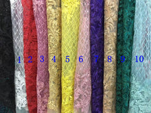 10colors Sparkly sequins on Mesh embroidery Lace Sequin Fabric For dress/Clothes/Events dress lace fabric one yard