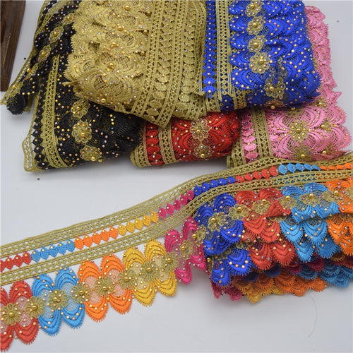 10yards African lace trim Metallic Embroidered Motif Lace Nigeria Venice Trim Crochet Cord Wide 11CM