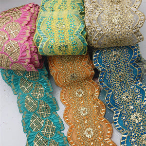 10yards Vintage Many design Metallic Embroidered Motif Lace Nigeria Venice Trim Crochet Cord
