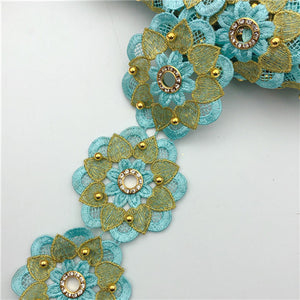 10yards  many color  Floer beaded  eyelet Metallic Embroidered Motif Lace Nigeria Venice Trim Crochet Cord Wide7cm