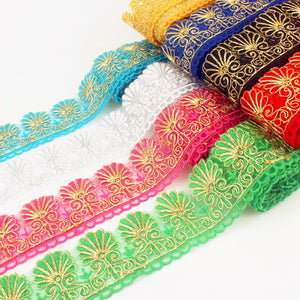 10yards  many colors Rayon Embroidery Scalloped Lace Trim Metallic Bridal wedding Trim Wide:6.5cm
