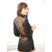 1PCS Hot Sexy Lingerie Plus Size Satin Lace Black Kimono Intimate Sleepwear Robe Sexy Night Gown Women Sexy Erotic Underwear