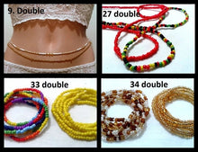 2 Pcs Boehmian Ethnic Double Strand Statement Body Chains Resin Beaded Belly Waist chain African Waist Bead Sexy Tribal Jewelry