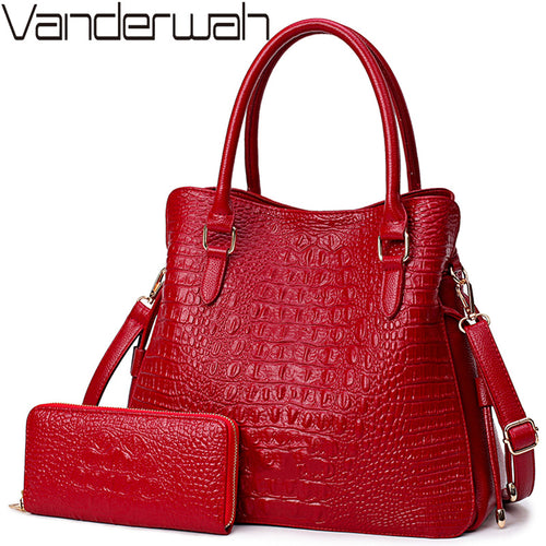 2 Sets Crocodile Leather Purses And Handbags Women Shoulder Bags Women Messenger Bags Ladies Casual Tote Bags Sac A Main Femme