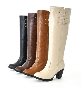 2014 Fall Fashion Europe Knight Boots Single Boots Thick Heel High-Heeled Boots Buckle Motorcycle Boots Plus Size 35-43 Em4015