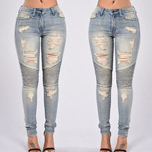 2016 Autumn Women Denim Skinny Ripped Pants High Waist Stretch Jeans Slim Pencil Trousers