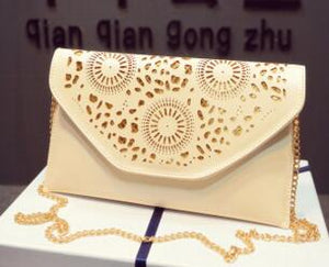 2016 Casual popular fluorescence color hollow envelope women's candy color one shoulder handbags,fashion day clutch bags