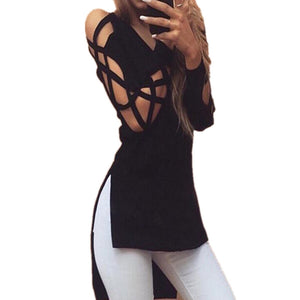 2016 Sexy V Neck Long Sleeve T Shirts Women Fashion Irregular Hem T-shirt Hollow out Casual Split Tees Loose Tops Black M0395
