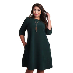 2017 Clothing Women Dress Plus Size Dresses for Women Autumn 3/4 Sleeve Party Dress Boho Beach Casual Loose Sundress