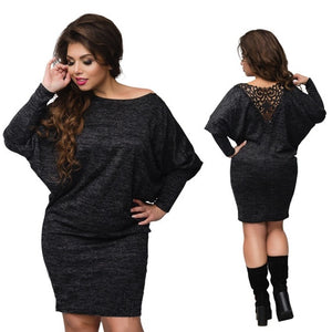 2017 Fashion Winter Dress Sexy Lace Bandage Dress Plus Size Christmas Dress Long Sleeve Knitted Backless Ladies Bodycon Dress