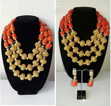 2017 Gold Bridal Statement Necklace Set Fabulous Nigerian Wedding Coral Beads Jewelry Set African Jewelry