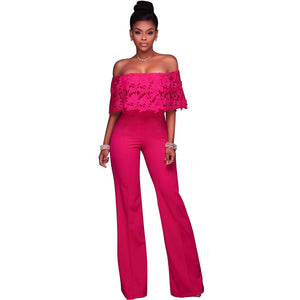 ba63402ab7d 2017 New Fashion Lace Work Top Strapless Jumpsuit Sexy Off Shoulder Casual  Ladies Off Shoulder Long