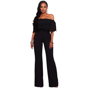 2017 New Fashion Lace Work Top Strapless Jumpsuit Sexy Off Shoulder Casual Ladies Off Shoulder Long Wide Leg Romper Plus Size