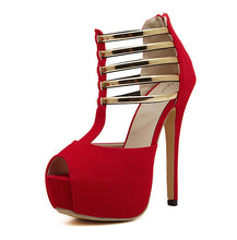 2017 New Summer Style women's sexy high heels Metal Sequined Hollow stiletto sandals ladies pumps party platform shoes Black Red
