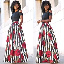 2017 New Two Pieces O-neck Casual Off Shoulder Maxi Dresses Short Sleeve Long Loose Dresses