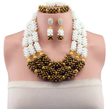 2017 New fashion Women Vintage Gold-color Bridal Rhinestone nigerian wedding african beads jewelry set crystal