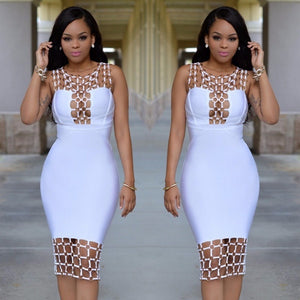 2017 Summer Women White Dress Sexy Hollow Out Slim Bandage Dresses Sleeveless O-neck Hip Dress Sexy Club Dresses HLJ297