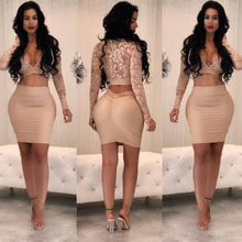 2017 Two Piece Set Women Bodycon Long Sleeve Crop Top Sexy Perspective Evening Party Pencil Skirt Push Up Hip Package Solid