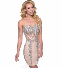2017 summer New Women Nude mesh Crystal sleeveless bandage dress strapless beading diamonds Celebrity Sexy Party Dress