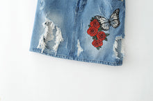 2017 summer mini skirt casual denim womens clothing embroidered skirts womens hole high waist skirt