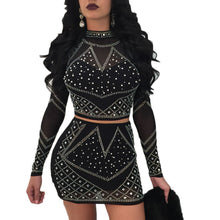 2018 2 Pcs Set Women Skirt Sets Sequined Clubwear Crop Tops Sexy  Mini Skirt Set Dress Long Sleeve Two Piece Set
