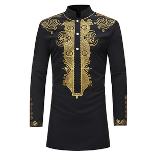 2018 African Dresses for Men Dashiki Rich Bazin Print Long Sleeve Robes Shirt Traditional Africa Dress Maxi Fashion Clothes