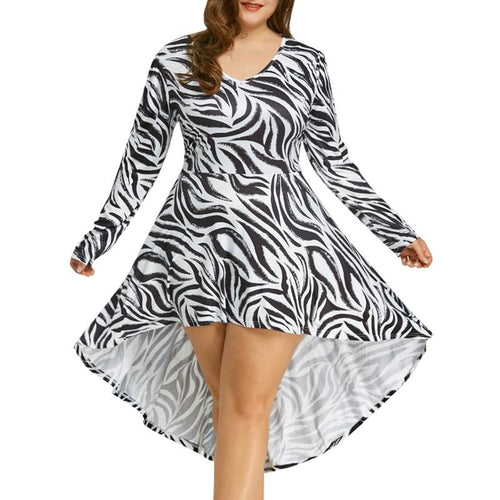 2018 Brand New Autumn Fashionable Large-Sized Zebra Stripes Asymmetric Hem Dress For Women