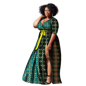 2018 New African Dresses for Women Print Wax Bazin Plus Size African Style Clothing Dashiki Deep Women African Clothing