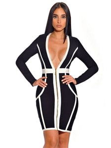 2018 New Elegant Black And White Bandage Dress Sexy Deep V Neck Front Zipper Long Sleeve Bodycon Dress Women Celebrity Vestidos