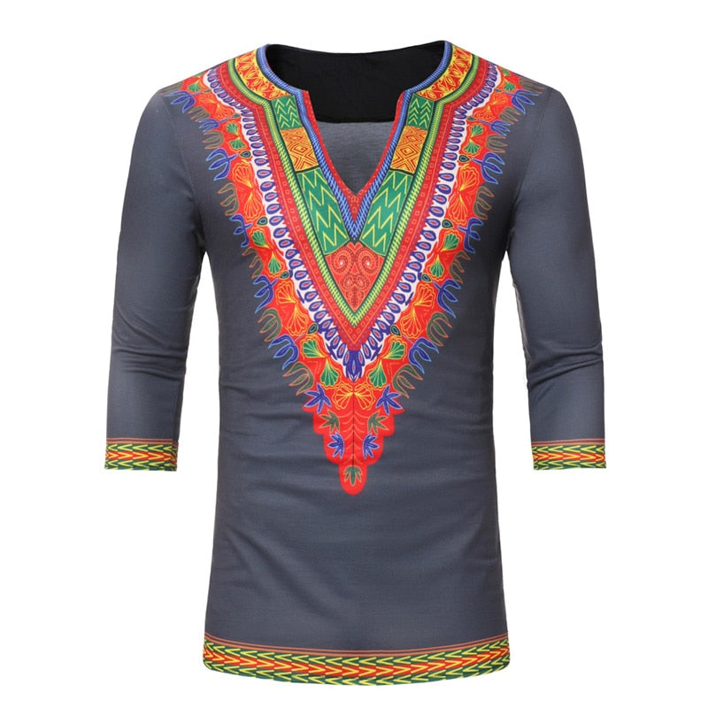 2018 New Fashion African Dashiki Print V Neck T Shirt Men Short Sleeve Ikcclassicafricanfashion