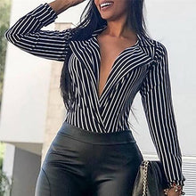 2018 New Fashion Women Long Sleeve Loose Blouse shirts Deep V neck Casual Striped Shirt Tops Shirts women Clothing female 30