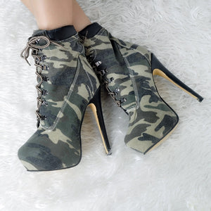 2018 New Plus Big Size 34-52 Camouflage Lace Up Fashion High Heel Platform Females Girl Lady Mid Calf Autumn Women Boots X1666