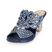 2018 New Summer Blue Shoes With Diamond Rhinestone Sandals Size 11 Fashion Sexy High Heeled Slippers Ladies