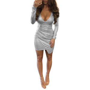 2018 Sequined Irregular Dress Women V Neck Long Sleeve Sexy Lace-up Dresses Silver paillette Bodycon Slim Party Dresses EY11