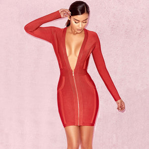2018 Sexy Women Bodycon Deep v front bandage dress Long sleeve party dresses